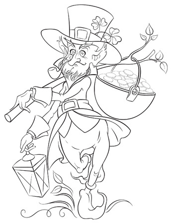 Leprechaun with gold coin pot of Saint Patrick Day. Coloring page Vector