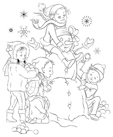 Winter games, children and snowman. Colouring page