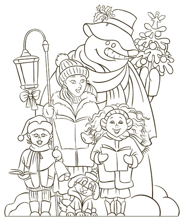 caroler: Christmas choir. Carol singers. Colouring page