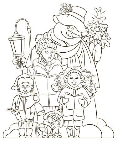 Christmas choir. Carol singers. Colouring page