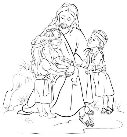 pastor de ovejas: Jesús y los niños Vectores