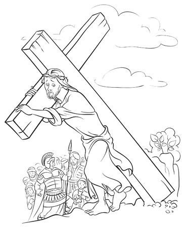 kruzifix: Jesus Christus tr�gt Kreuz Illustration