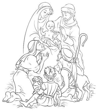 Kerststal - Jezus, Maria, Jozef en Shepherd Stock Illustratie