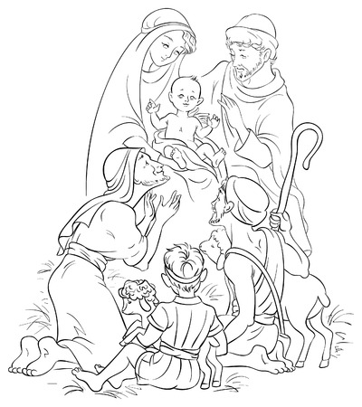 Nativity scene - Jesus, Mary, Joseph and Shepherd Vector