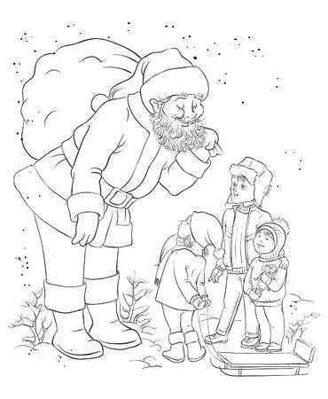 Santa with children. Christmas theme Vector