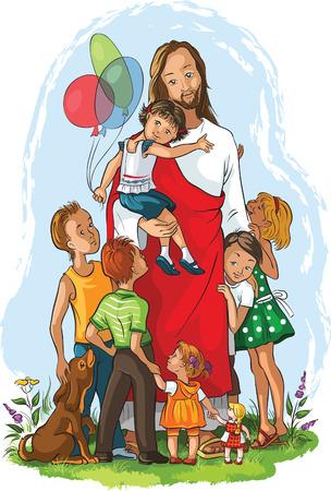 Jésus avec enfants Banque d'images - 33649863