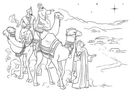 reyes magos: Tres hombres sabios siguiendo la estrella de Belén esbozados Vectores