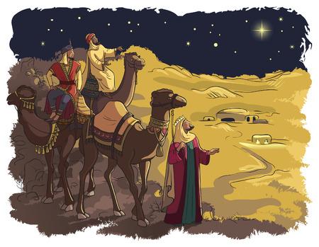 reyes magos: Tres hombres sabios siguiendo la estrella de Belén Vectores