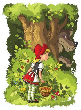 czerwony kapturek: Czerwony Kapturek i wilk w lesie Ilustracja