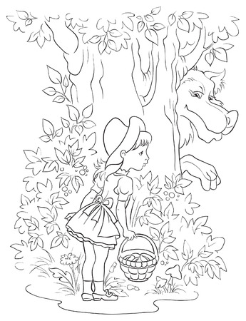 görüntü: Little Red Riding Hood and Wolf. Colouring page