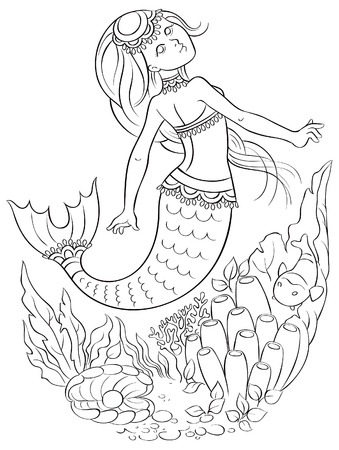 coloring book page: Mermaid swimming underwater in the ocean. Colouring page