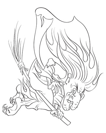 The old evil witch flying on a broomstick. Colouring page. Also available colored version Vector