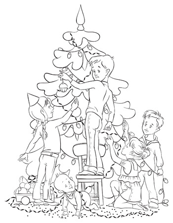 Children Decorating a Christmas Tree. Colouring page. Also available colored version Vector