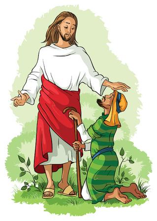 Jezus Christus genezing van een lamme Stock Illustratie