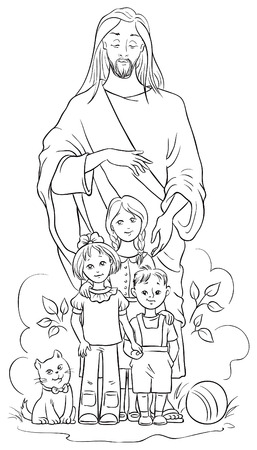 Jesus with children. Colouring page