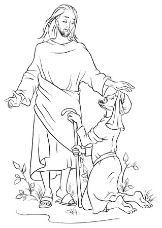 Jesus healing a lame man. Colouring page Vector