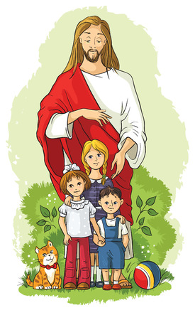 christian prayer: Jesus with children