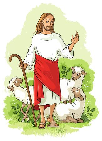 historias biblicas: Jesús es el buen pastor. Ilustración cristiana Vectores
