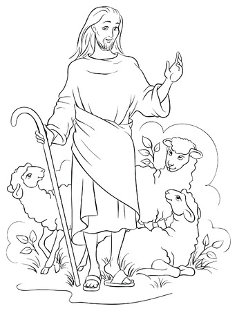 the religion: Jesus is a good shepherd. Colouring page Illustration