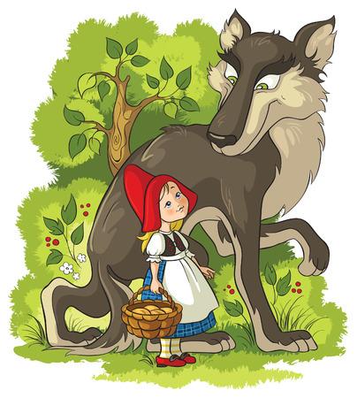 caperucita roja: Caperucita Roja y el lobo en el bosque Vectores