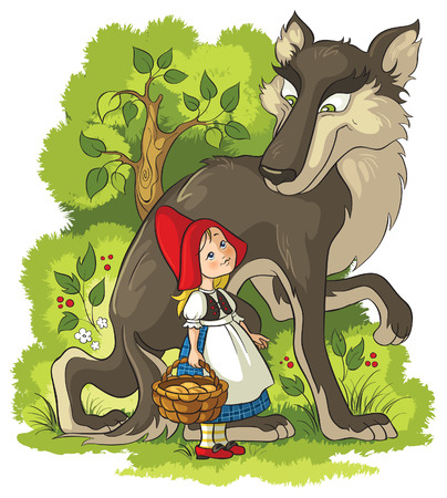 cartoon little red riding hood: Little Red Riding Hood and Wolf in the forest Illustration