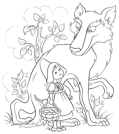 Little Red Riding Hood and Wolf. Colouring page