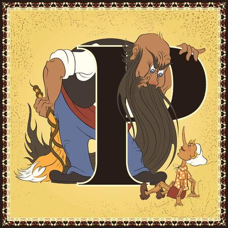 collodi: Fairy tale alphabet. Letter P. Pinocchio by Carlo Collodi Illustration