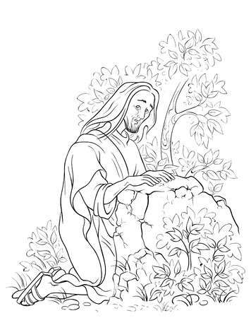 Agony in the garden. Jesus in Gethsemane scene. Coloring page Vectores