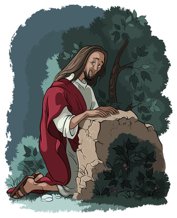 crucifixion: Agony in the garden. Jesus in Gethsemane scene