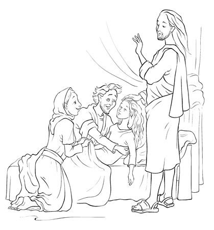 Miracles of Jesus. Raising of Jairus daughter. Colouring page