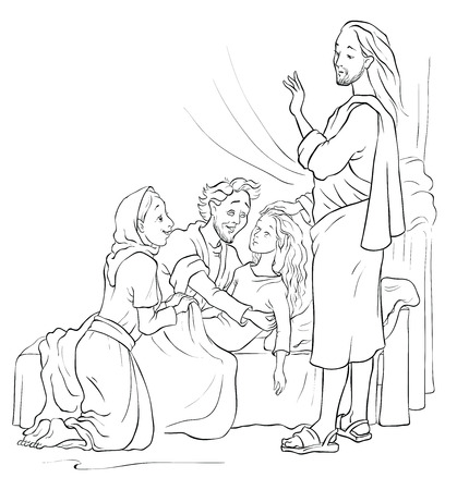 miracles: Miracles of Jesus. Raising of Jairus daughter. Colouring page