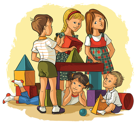 family home: Children Playing with Building Colorful Blocks
