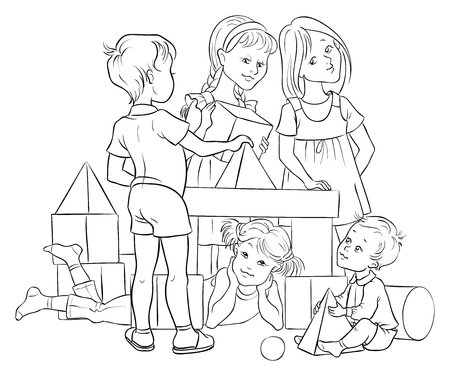 Children Playing with Building Colorful Blocks. Colouring page