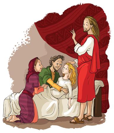 イエスの奇蹟。ヤイロの娘の引き上げ  イラスト・ベクター素材