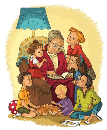 old people group: Grandmother  sitting in chair reads a book to her grandchildren