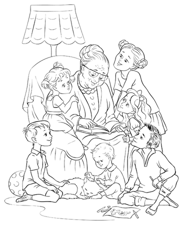 reads: Grandmother  sitting in chair reads a book to her grandchildren. Colouring page Illustration