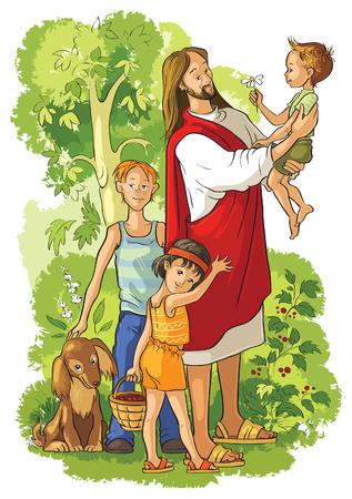 kid vector: jesus con niños