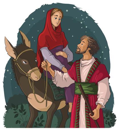 nascita di gesu: Maria e Giuseppe in viaggio a dorso di mulo a Betlemme. Storia della Natività