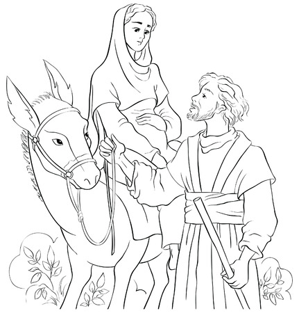 Mary and Joseph travelling by donkey to Bethlehem. Nativity story
