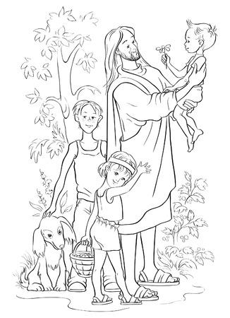 black jesus: Jesus with Children. Colouring page Illustration