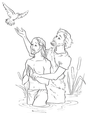 Baptism of Jesus Christ. Colouring page