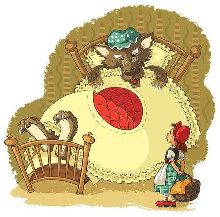 cartoon little red riding hood: Little Red Riding Hood and wolf Illustration