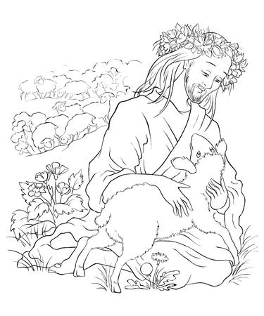 失われた羊のたとえ  イラスト・ベクター素材