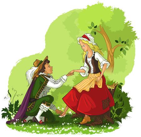 enamorados caricatura: Prince poner la zapatilla de cristal de Cenicienta en
