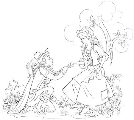 Prince putting the glass slipper on Cinderella