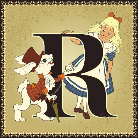 alice in wonderland: Fairytale alphabet.  Letter  Letter R. Alice and White Rabbit. Alices Adventures in Wonderland by Lewis Carroll