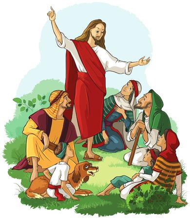 Jesús predica el Evangelio Foto de archivo - 62197321
