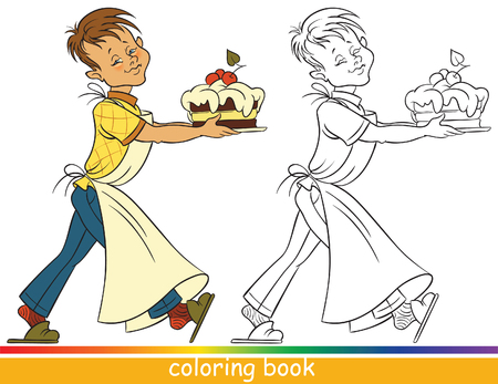 Boy with a cake. Coloring book or Coloring page for children Ilustracja