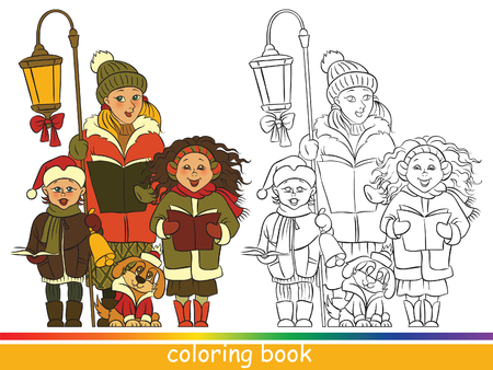 carolers: Children Christmas choir, Carol singers. Coloring book or Coloring page for children Illustration