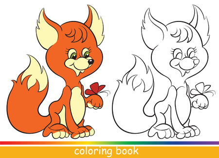 Cute young fox. Coloring book or Coloring page for children